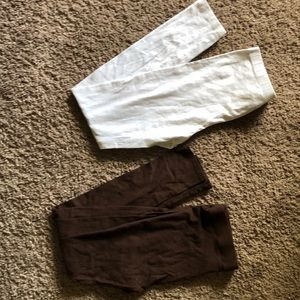 White and brown leggings